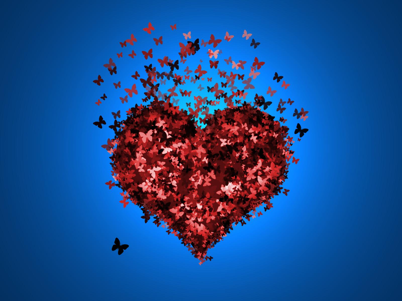 Сердце из бабочек открытка, день рождения